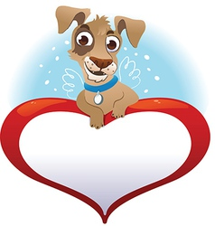 Greeting cards with heart and dog vector