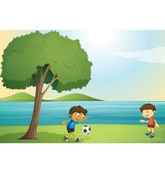 kids playing football vector image