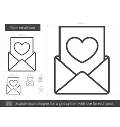 Read email line icon vector