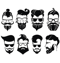Hipster hair and beards vector