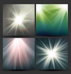 Light beam rays set sun flash with rays vector