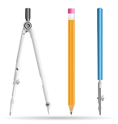 Compasses pencil and drawing pen vector