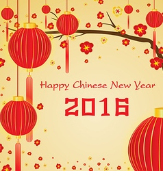 Happy chinese new year 2016 card and lighting vector