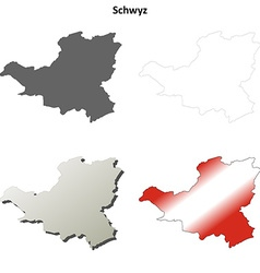 Schwyz blank detailed outline map set vector