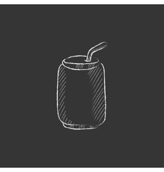 Soda can with drinking straw drawn in chalk icon vector