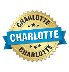 Charlotte round golden badge with blue ribbon vector