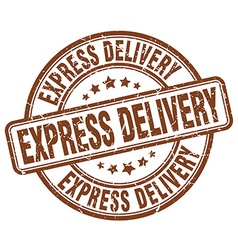 Express delivery brown grunge round vintage rubber vector