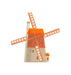 ancient windmill medieval building cartoon vector image vector image
