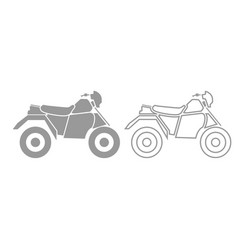 atv motorcycle on four wheels grey set icon vector image