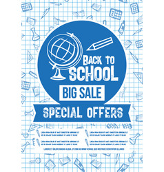 back to school sale special offer poster vector image vector image