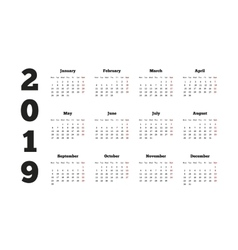 Calendar on 2019 year with week starting from vector image vector image