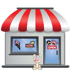Candy store with puppy in front vector