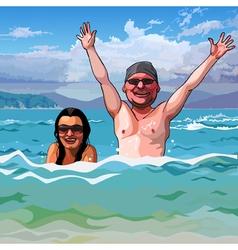 cartoon happy man and woman in the sea vector image vector image