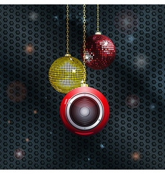 Christmas baubles with speaker vector