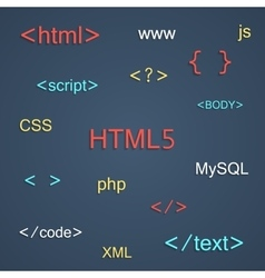 colored coding and programming lettering with vector image