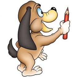 dog and crayon vector image vector image