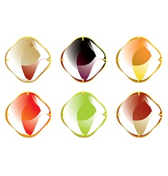 Faceted gemstones with gold fastener vector