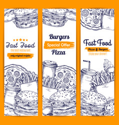 fast food meal sketch banners set vector image vector image