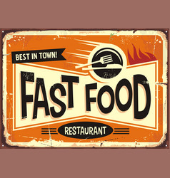 fast food restaurant vintage tin sign design vector image