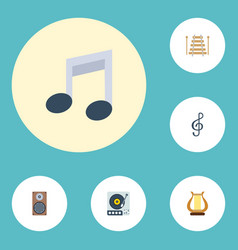 Flat icons quaver lyre audio box and other vector