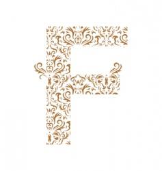 floral letter f ornament font vector image