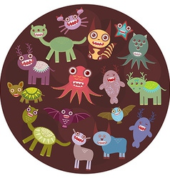 Funny monsters card design funny monsters set big vector