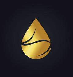 Gold bio organic droplet logo vector