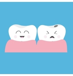 Healthy smiling tooth gum icon crying bad ill vector