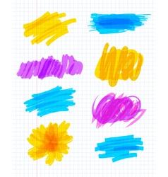 Highlighter marker strokes vector image vector image