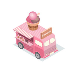 Isometric food trucks vector
