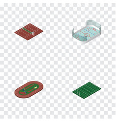 Isometric lifestyle set of american football run vector