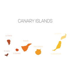 Map of canary islands spain with labels of each vector