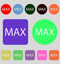 Maximum sign icon 12 colored buttons flat design vector