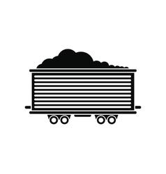 Open rail car black simple icon vector