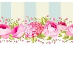 Ornate pink flower border with tile vector image
