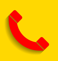 phone sign red icon with vector image vector image