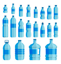 plastic bottle water set vector image vector image