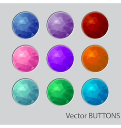 Polygonal round buttons design elements vector image vector image