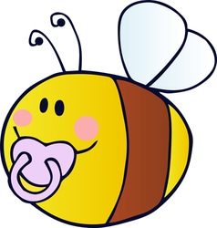 pudgy baby bee with a pacifier vector image vector image