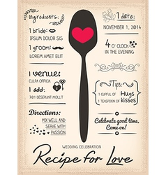Recipe card Wedding Invitation cooking concept vector image vector image