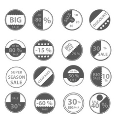 sale gray circle icons set for discount shop eps10 vector image vector image