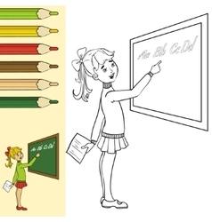 Schoolgirl at blackboard outlined vector