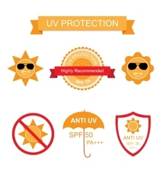 Set of uv sun protection and anti uv icons vector