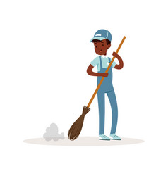 Smiling afro-american kid sweeping floor with vector