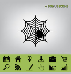 Spider on web black icon at vector