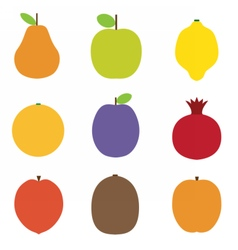 Summer fruits icons vector