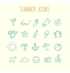 Summer icon set vector image