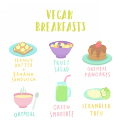 Types of vegan breakfast vector
