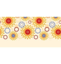 Warm vibrant floral abstract horizontal seamless vector image