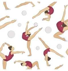 Woman stretching gymnastic sport pattern vector